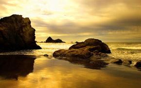 sunset, stones, nature, ocean