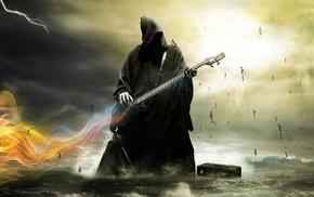 skeleton, dark, bass guitars, death, guitar, artwork