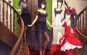 Tohsaka Rin, dress, Type, Moon, anime girls, stairs