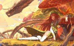 dragon, Touhou, Hong Meiling, anime girls