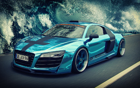 art, Audi, wave, speed, sea