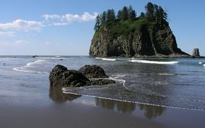 красота, остров, природа, зелень, берег, океан