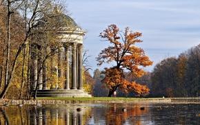 листва, красота, небо, осень, озеро, беседка