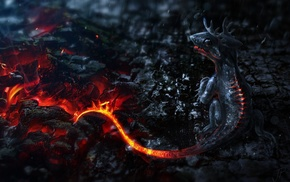 art, fire, fantasy, dragon