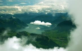 горы, облака, озеро