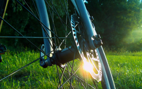 велосипед, отражение, трава, солнечный свет