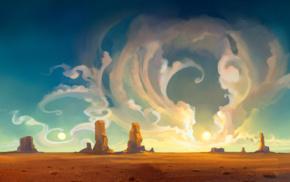 mesa, landscape, sky, nature, desert, digital art
