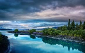 небо, тучи, река, природа, вечер, зелень