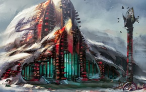 video games, concept art, artwork, Guild Wars 2, digital art, building