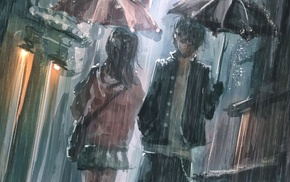 street, umbrella, artwork, rain