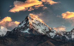 природа, вечер, пик, облака, горы, небо