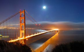 USA, moon, bay, bridge, city