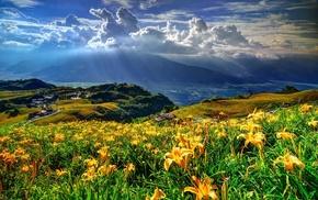 light, mountain, sky, beautiful, clouds