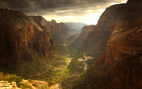 cloudy, sky, nature, canyon, beautiful
