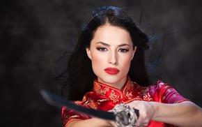 губки, меч, девушка, люди, волосы, кимоно