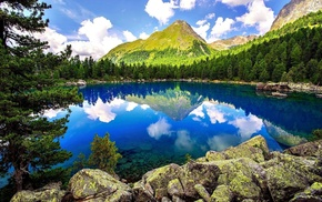 stones, lake, reflection, trees, clouds