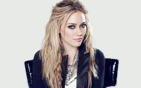 blonde, jacket, simple background, Hilary Duff, sitting, girl