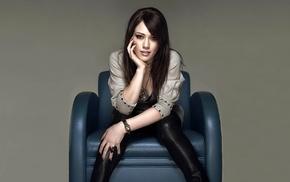 sitting, Hilary Duff, black pants, simple background, brunette, hazel eyes