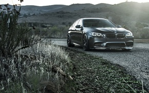 hills, BMW, road, gray background, cars