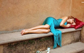 lying down, barefoot, blonde, dress, Jennifer Aniston, legs