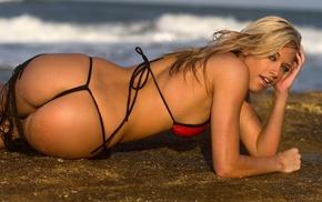 statuette, ocean, blonde, bikini, sexy