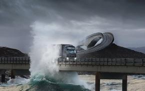 sky, waves, bridge, power, water