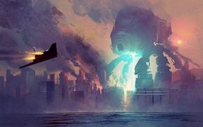 robot, fantasy art, artwork, concept art, mech