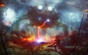 concept art, fantasy art, robot, artwork, mech