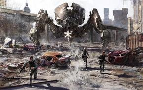 concept art, mech, robot, artwork, destruction, war