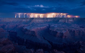 lightning, canyon, nature, night