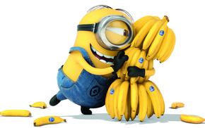 позитив, бананы, белый фон, Гадкий я 2, мультфильм, миньон