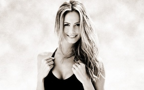 monochrome, Stacy Keibler, cleavage, tank top, blonde, black clothing