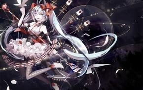 Vocaloid, Hatsune Miku, cards, anime girls, birds