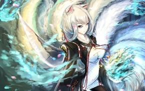 original characters, sword, nine tails, anime girls, cat ears