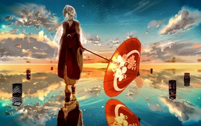 reflection, Vocaloid, umbrella, water, Kagamine Rin, anime girls