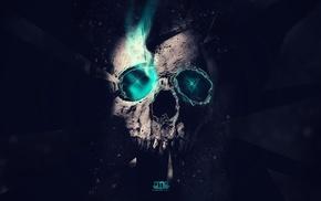 digital art, artwork, neon, skull