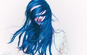 girl, blue hair