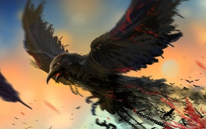 artwork, digital art, blood, birds, crow, chains