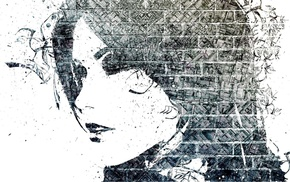 monochrome, Alex Cherry, girl, mosaic, paint splatter, face