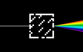 Minecraft, glass, rainbows, Dark Side Of The Moon, black, minimalism