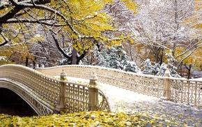bridge, autumn, snow, trees, leaves