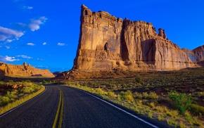 sky, rocks, road, clouds, stunner