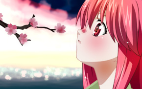 Lucy, pink hair, anime girls, Elfen Lied, anime, cherry blossom
