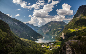 Norway, clouds, bay, nature, mountain
