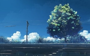 5 Centimeters Per Second, utility pole, power lines, trees, anime