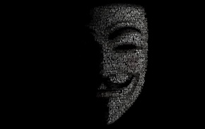 темный фон, маска, силуэт, креатив, слова