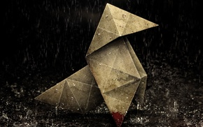 rain, origami, blood, heavy rain