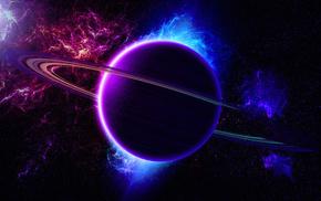 planet, universe, rings, space, nebula
