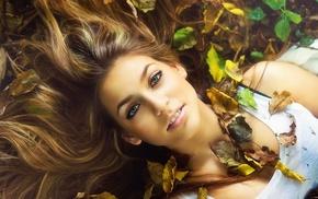 hair, eyes, smiling, foliage, autumn