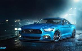 форд, Mustang, тюнинг, Ford, вечер, синий